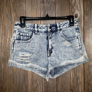 Kendall Kylie Blue Jean Distressed Shortie Shorts